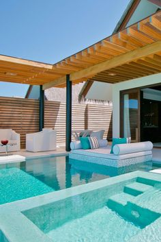 luxury beach home pool + outdoor daybed Vacation Places, Dream Vacations, Vacation Spots, Greece Vacation, Romantic Vacations, Honeymoon Destinations, Romantic Travel, Luxury Swimming Pools, Dream Pools