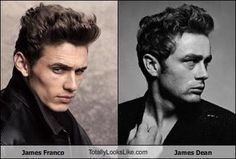 James Dean/ James Franco  Thank god for this sexy incarnation. Dean was too young to die but Franco is making up for it! I don't think the first name was just a coincidence...