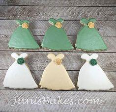 janisbakes, bridesmaid dress decorated cookies