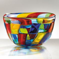 "Mosaic Murano Glass Centerpiece Bowl, 4-1/4"" high, 7-1/4 "" diameter. From the Smithsonian Store. beautiful colors, needs to be where the light will shine on it."