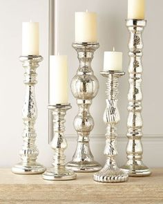 H793W Five Mercury-Glass Candleholders