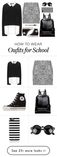 """B+W School Style"" by savvy-maven on Polyvore featuring WearAll, Alice + Olivia, Converse, Kate Spade and Cross"