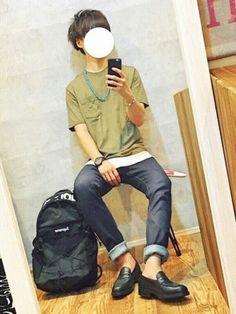 gakuさんの「【汗ジミ防止加工】コットンオーバーポケットT半袖/568906(RAGEBLUE|レイジブルー)」を使ったコーディネート