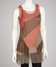 Take a look at this Tango Mango Pink & Gray Diagonal Tiered Tunic on zulily today!