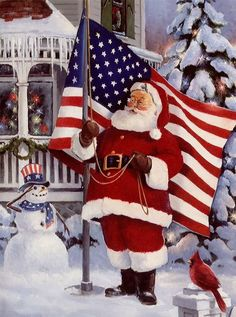 Santa...God Bless America. The cute snowman is decked out in Red, White and blue and the red cardinal on the post, love that little extra detail.