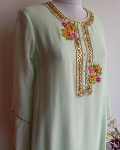 Mint Green Pastel colour Kurta with Gota Patti and Resham handwork with Pintuck sleeve details Embroidery On Kurtis, Kurti Embroidery Design, Embroidery Dress, Indian Embroidery Designs, Neckline Designs, Kurti Neck Designs, Blouse Designs, Gala Design, Indian Designer Wear