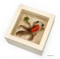3-D Painting of Goldfish in Resin Water inspired by Riusuke Fukahori