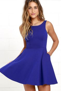 The next time you're packing a suitcase, the oh-so-versatile Wanderlust Royal Blue Skater Dress will be the first thing you'll want to bring along! Flattering princess seams lay below a rounded neckline and swooping back, while a knit skater skirt (with side-seam pockets) flares from a fitted waist. Hidden back zipper.