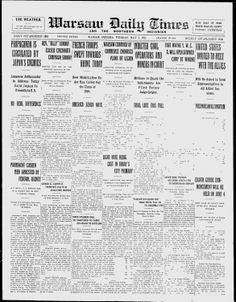 KOSCIUSKO COUNTY, Indiana - Warsaw - 1921 - Warsaw Daily Times-the Norther - Google News Archive Search