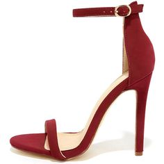 Almonaster Wine Nubuck Ankle Strap Heels ($29) ❤ liked on Polyvore featuring shoes, pumps, red, wine shoes, ankle wrap shoes, sexy pumps, sexy red pumps and structure shoes