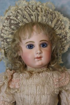 """23-3/4"""" Antique 9 over EJ Bebe Jumeau w.Blue Paperweights French Bisque doll"""