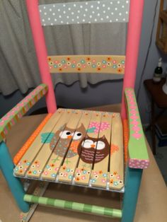 Childs painted rocking chair. Love with owl your heart.