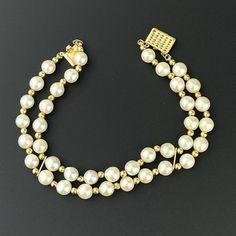 Vintage 14K Gold Double Strand Pearl Bracelet