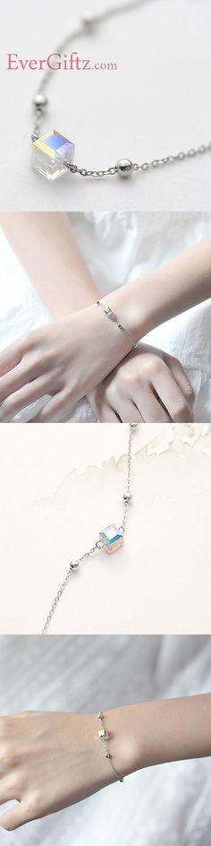 65f62422c234b Silver Bracelet Crysta Charm Bracelets Chain Bracelets Gift Jewelry  Accessories Women