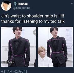 When your boyfriend Jin has more curves than you. Jimin, Kookie Bts, Bts Jin, Bts Bangtan Boy, Bts Memes, Seokjin, Sight Words, Patrick Spongebob, K Pop