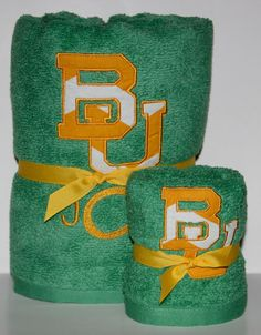 Personalized Baylor bath and hand towel