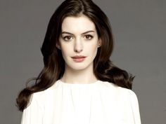 Anne+Hathaway her coloring is astounding. Porcelain skin chestnut brown hair. And I want that lipstick color!! Stunning.