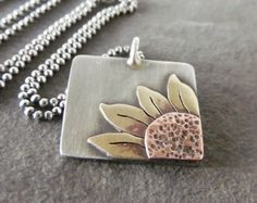Please check out my shop announcements for sale details. This rustic sunflower pendant has country girl charm. I handcrafted each piece using Metal Clay Jewelry, Copper Jewelry, Polymer Clay Jewelry, Handmade Sterling Silver, Sterling Silver Pendants, Artisan Jewelry, Handcrafted Jewelry, Homemade Necklaces, Soldering Jewelry