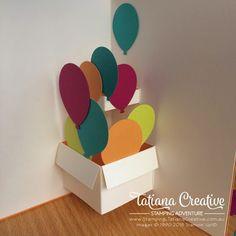 TUTORIAL pop up card - Balloon Bouquet Punch - Birthday Balloon Surprise - Tatiana Creative Stamping Adventure Birthday Balloon Surprise, Birthday Card Pop Up, Creative Birthday Cards, Handmade Birthday Cards, Happy Birthday Cards, Birthday Balloons, Origami Birthday Card, Karten Diy, Fancy Fold Cards