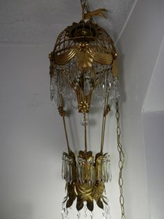 Vintage Hot Air Balloon Italian Gilt Tole Ware Italian Chandelier
