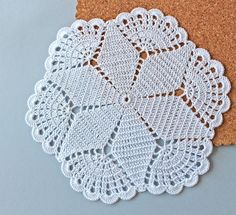 Round crochet doily, Easter table decoration, white lace doily, center piece by Fancyloops Ready to Crochet Rug in Ecru Off White Cotton Spiral Pattern Non Crochet Circles, Crochet Squares, Crochet Motif, Hand Crochet, Crochet Patterns, Knitting Patterns, Easter Crochet, Crochet Round, Lace Doilies
