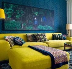Geel en blauw interieur  #blauw #interieur
