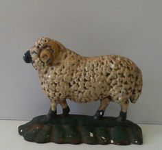 Vintage Cast Iron Sheep Ram Doorstop #SheepRamFigure #Unmarked