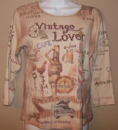 VINTAGE LOVER Cactus Shirt Embellished Rhinestones 100% Cotton Antiquer Picker #Cactus #KnitTop #Casual