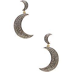 Karma Jewels Pave Champagne Diamond Moon Drop Earrings ($1,250) ❤ liked on Polyvore featuring jewelry, earrings, accessories, silver, 14k earrings, pave earrings, drop earrings, pave diamond jewelry and diamond earrings