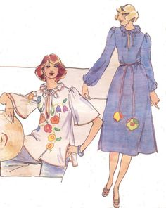 1970s Betsey Johnson Womens Boho Dress or Tunic with Applique Butterick Sewing…