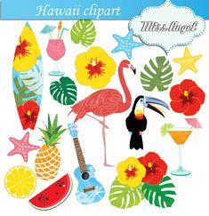 Hawaii Clipart Flamingo Hawaiian Summer Beach Clip Art.