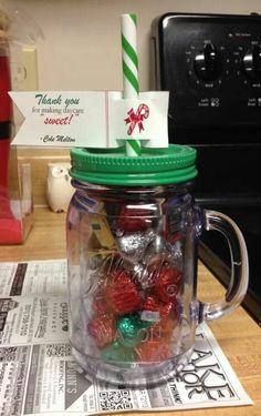 teacher gift. thank you for making learning (daycare) sweet!! fill with candy. cup from walmart. so cute.