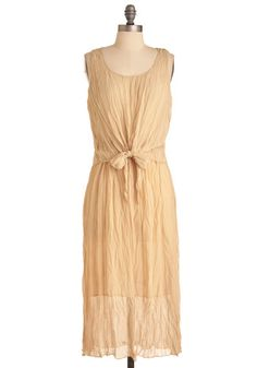 Romantic Poems Dress - Long, Casual, Boho, Cream, Solid, Bows, Sheath / Shift, Sleeveless