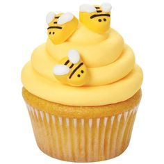 Icing Decorations Bumble Bee. These cute icing decorations are perfect for dressing up cupcakes, cakes, and treats. This package contains eighteen bumblebees that are approximately 1/2 inch in diamete