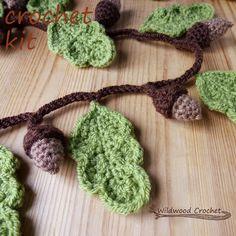 oak leaf garland, diy crochet kit//crochet garland kit//crochet décor kit//pagan decoration//crochet acorn//crochet oak leaf//woodland theme by WildwoodCrochetStore on Etsy https://www.etsy.com/listing/476570304/oak-leaf-garland-diy-crochet-kitcrochet