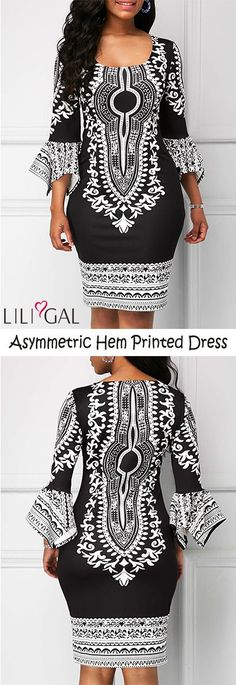 Round Neck Asymmetric Hem Flare Sleeve Printed Dress #liligal #dresses #womenswear #womensfashion