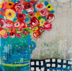 Hong Kong Flowers III 16x16 Mixed media Available at Anne Irwin Fine Art 404-467-1200