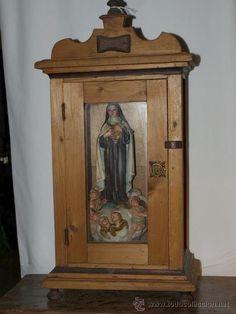 Escultura. Olot. santa teresa de jesús. ojos de cristal. Hornacina madera y cristal. C 1930.