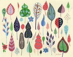 Leaf pattern - Samantha Lewis; cute!    (print professionally, and matte, and frame and hang)