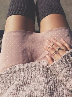 knee highs with sweater