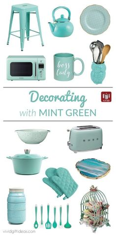 Mint green kitchen ideas. Accessories and decorating tips. #kitchen #decor