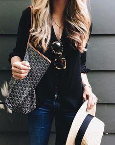 Black Blouse + Sunglasses + Jeans @theteacherdiva