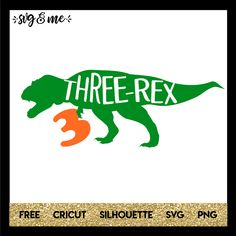 This free svg is perfect for your three-year-old who is obsessed with dinosaurs or is having a dino themed birthday party! Make a DIY shirt, sign or birthday favors. Files are compatible with Cricut, Silhouette and other cutting machines.
