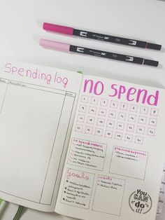 No spend bullet Journal spread spending log goals tracker