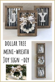 Mini Wreath JOY Sign -DIYDollar Tree Mini Wreath JOY Sign -DIY Microwave peanut brittle is an easy 15 minute candy recipe perfect for the holidays. It's a family favorite sweet at every Christmas! 36 Pretty Farmhouse Wall Decor Ideas You Must Have Dollar Tree Christmas, Merry Christmas, Christmas Diy, Christmas Signs, Christmas Decorations Dollar Tree, Cheap Christmas Crafts, Xmas, Snowman Decorations, Dollar Tree Frames