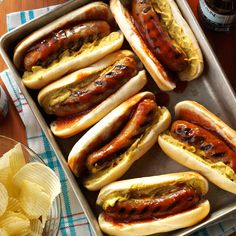 BBQ Brats Recipe -In Wisconsin, brats are a food group! We are always looking for new ways to cook them. This recipe is easy and a hit at any tailgate party or cookout, any time of year. —Jessica Abnet, DePere, Wisconsin