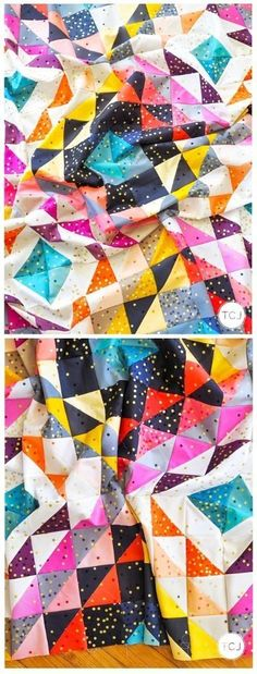 Diamond Ripples Quilt Pattern by Meghan of thencamejune.com. This pattern is perfect to display your favorite color tones. The pattern comes in a solid and a scrappy version. It is an awesome scrap buster too if you choose the scrappy version! #diamondripplesquilt #thencamejunepatterns #modernquilts Triangle Quilt Pattern, Half Square Triangle Quilts, Scrap Busters, Modern Quilt Patterns, Color Tones, Quilt Making, Fabric Scraps, Pattern Making, Quilting Designs