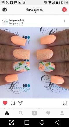 Ideas nails art summer beach tropical for 2019 – neon nail art Summer Acrylic Nails, Cute Acrylic Nails, Neon Nails, Cute Nails, My Nails, Summer Vacation Nails, Summer Holiday Nails, Summer Nails, Summer Nail Art