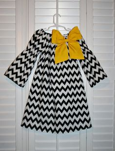 Girls Black Chevron & Yellow   Bow   Peasant by JellyPopChick, $26.99