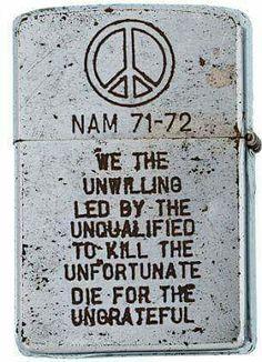 Vietnam war. Zippo lighter. Reminds me of my Papa. I am so proud I knew you :(